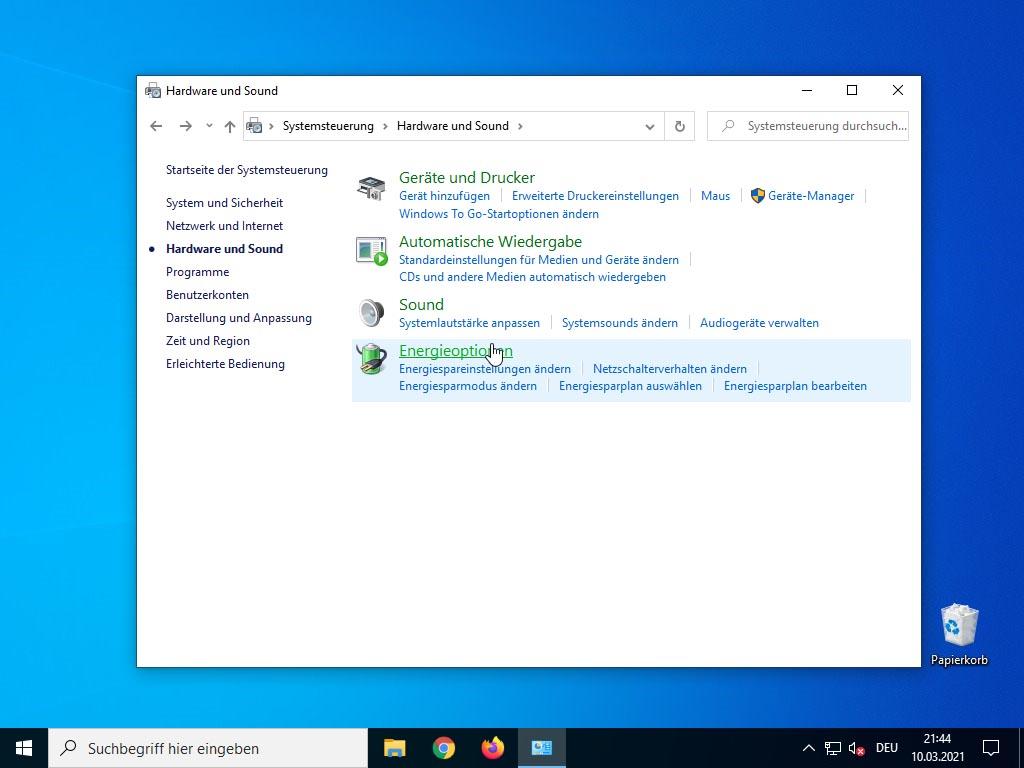 Windows 10 Schnellstart deaktivieren - Energieoptionen