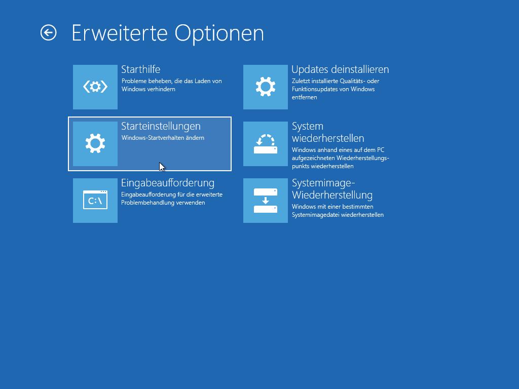 Windows 10 abgesicherter Modus starten - Erweiterte Optionen