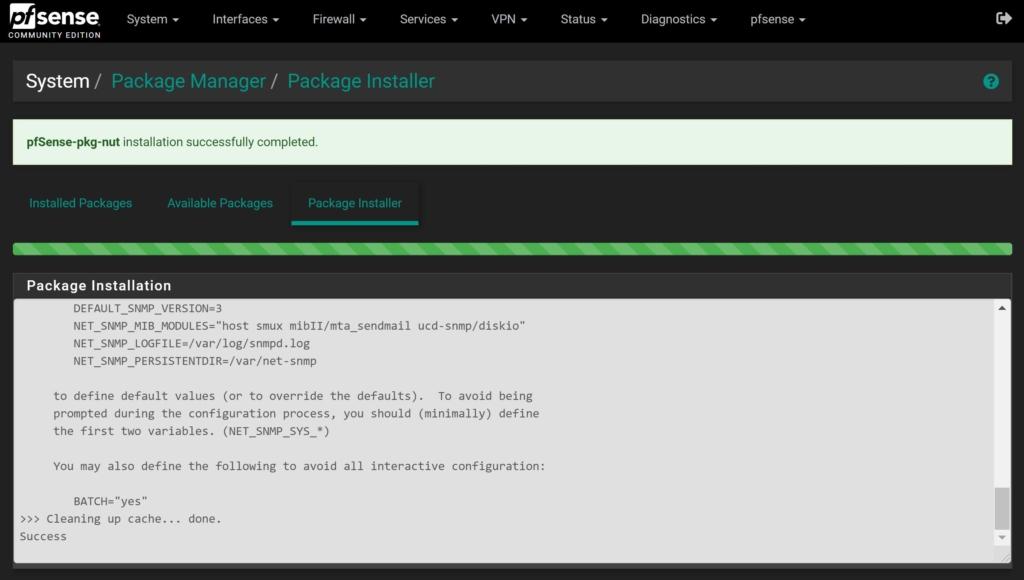pfSense NUT Client einrichten - USV UPS verwenden - nut installed