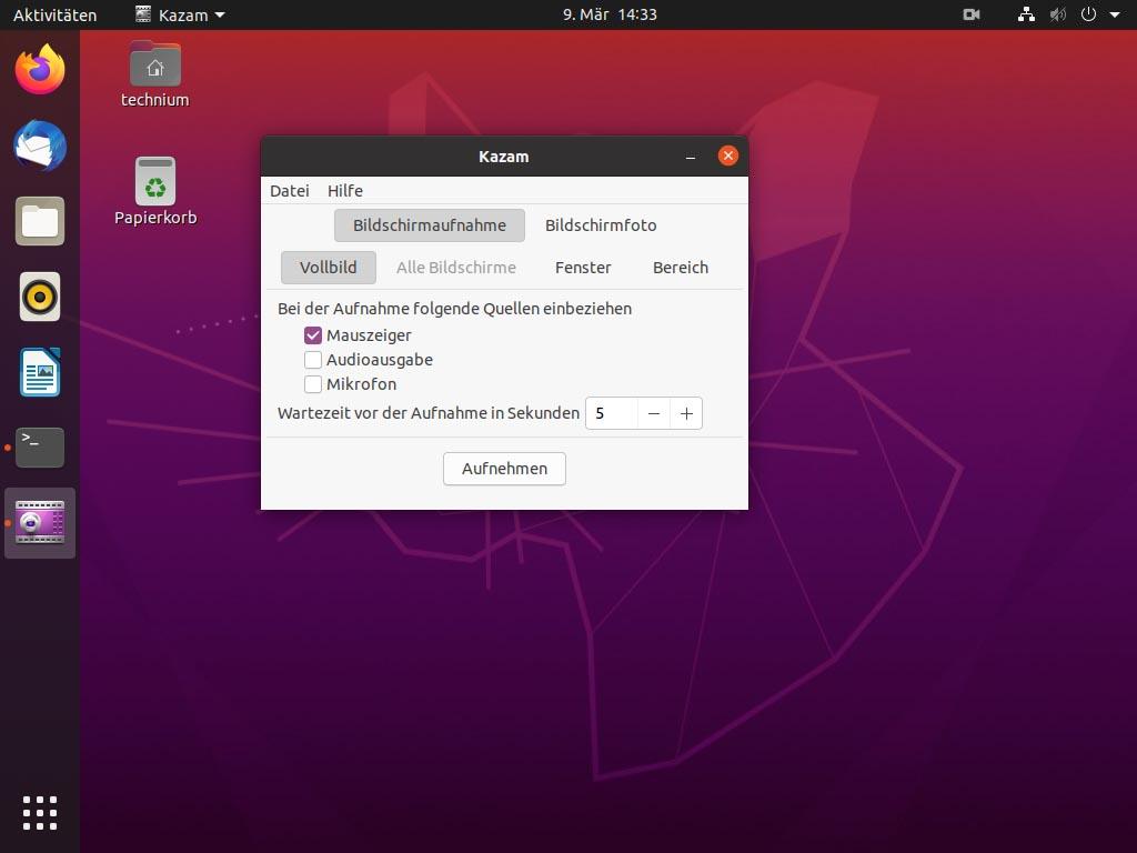 Debian Screen recording mit Kazam - kazam