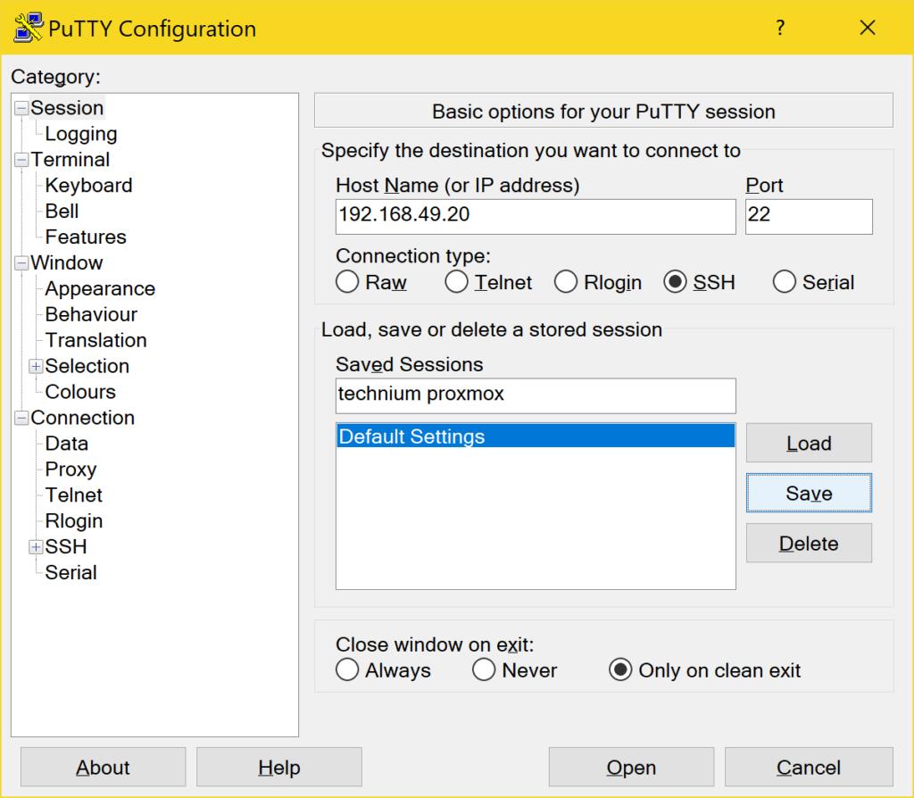 PuTTY richtig verwenden - Configuration Save
