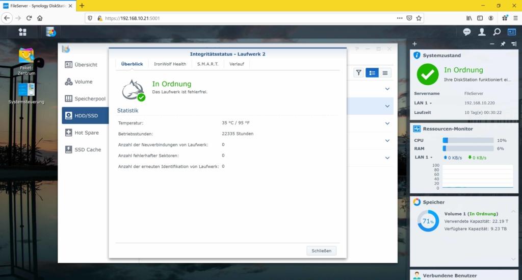 Synology NAS Festplatte Betriebsstunden auslesen - Integritätsstatus