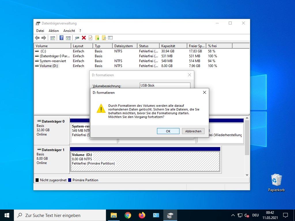 USB Stick unter Windows 10 - formatieren bestätigen