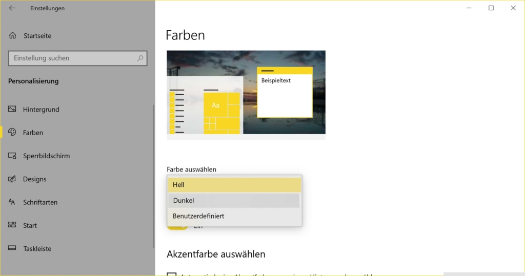 Windows 10 Dark Mode aktivieren - Einstellungen Farben - Dunkel
