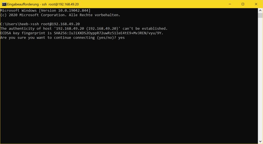Windows 10 SSH Client - ssh continue yes