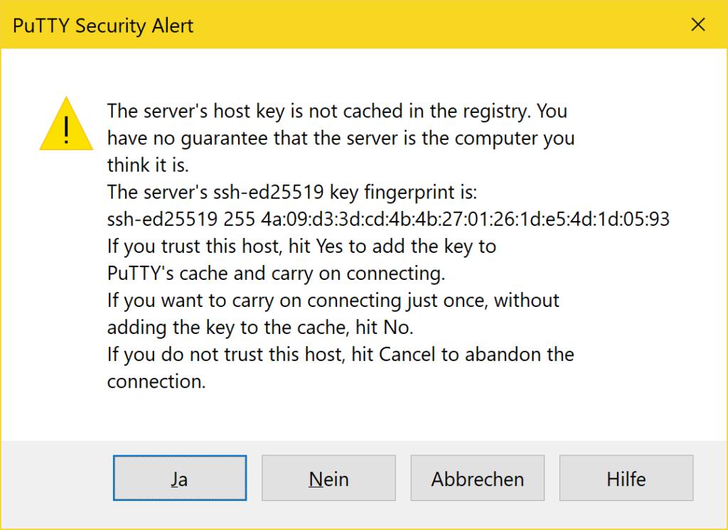 PuTTY richtig verwenden - Security Alert