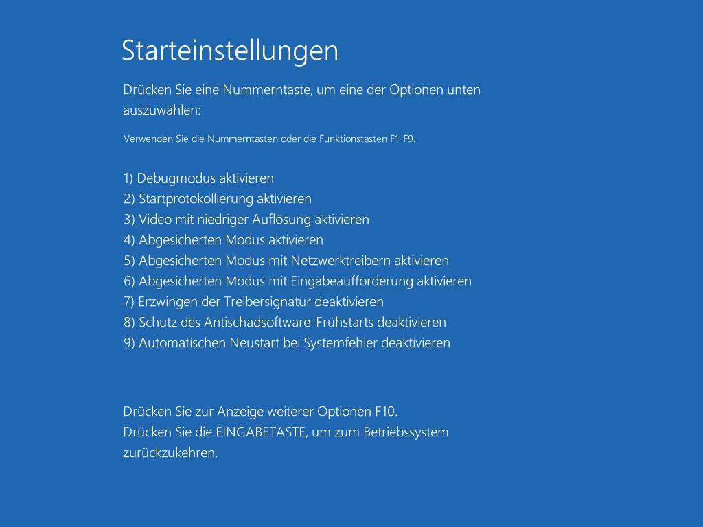 Windows 10 abgesicherter Modus starten - Starteinstellungen
