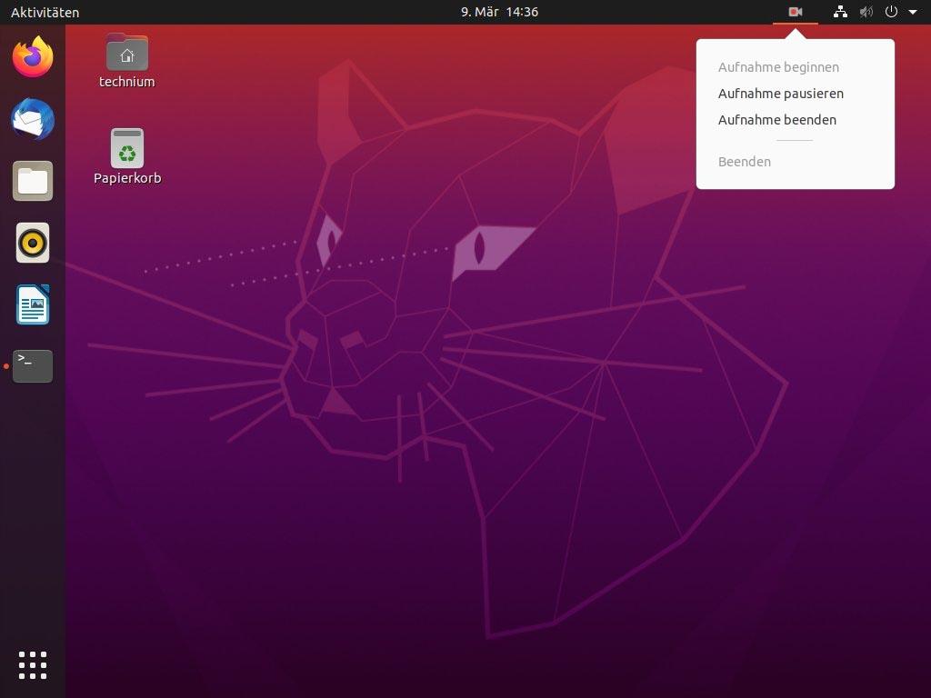 Debian Screen recording mit Kazam - kazam stop