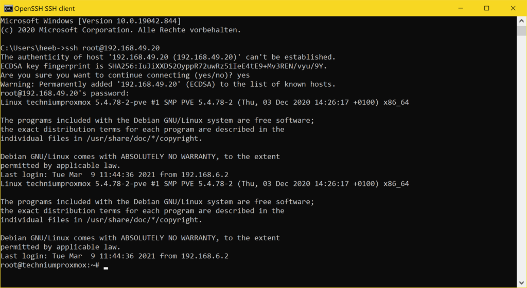 Windows 10 SSH Client - ssh logged in