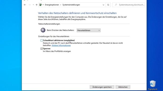Windows 10 Schnellstart deaktivieren - Schnellstart deaktivieren