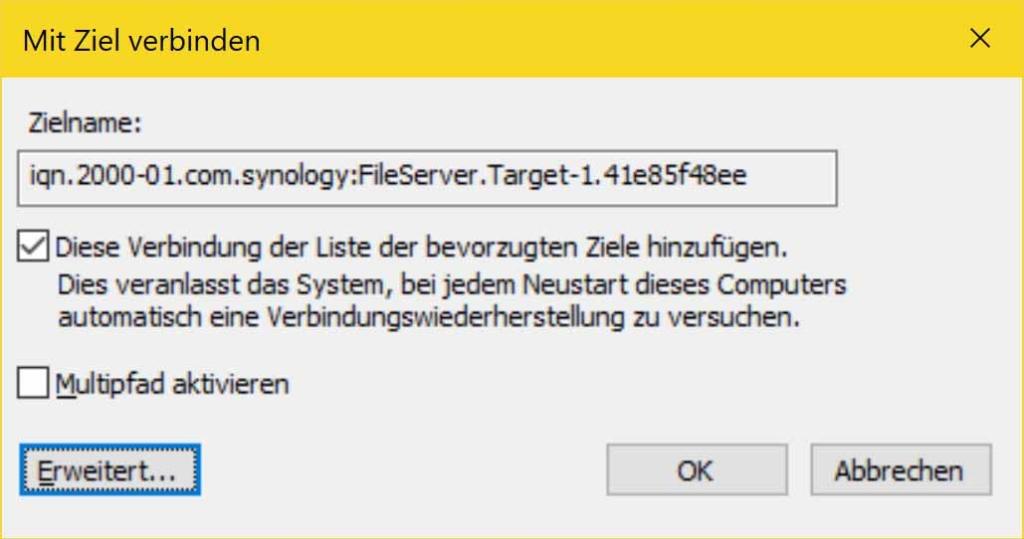 Windows 10 iSCSI Verbindung erstellen - Mit Ziel verbinden