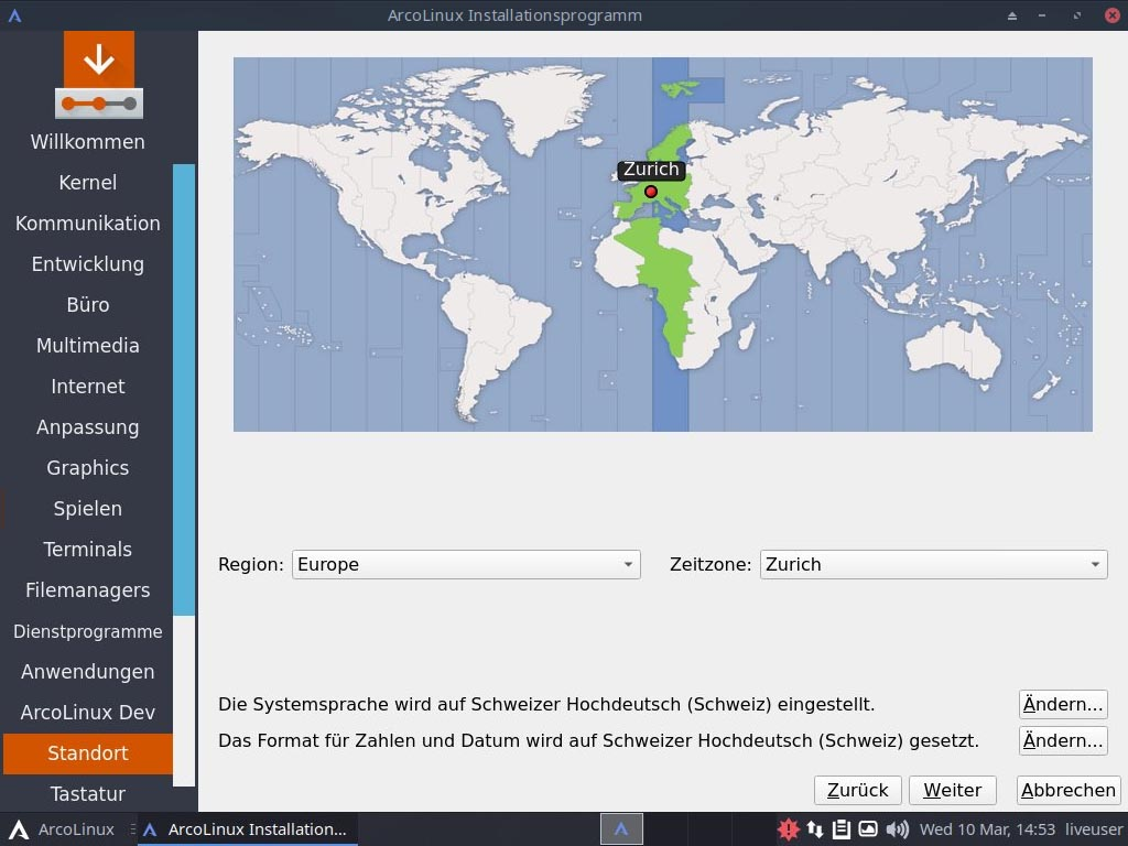 ArcoLinux installieren - standort