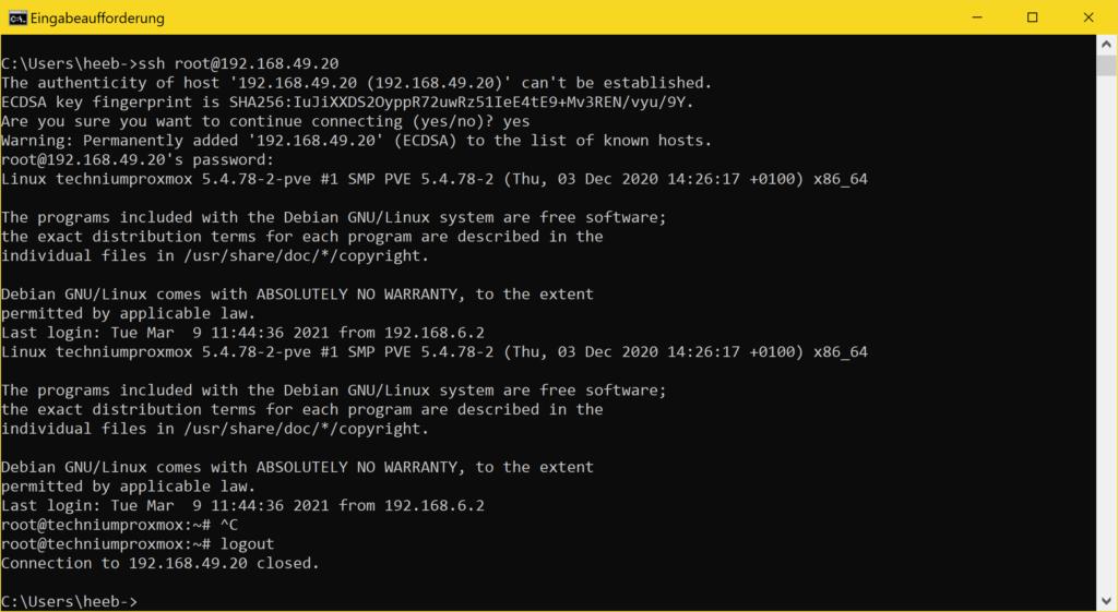 Windows 10 SSH Client - ssh CTRL + D logout