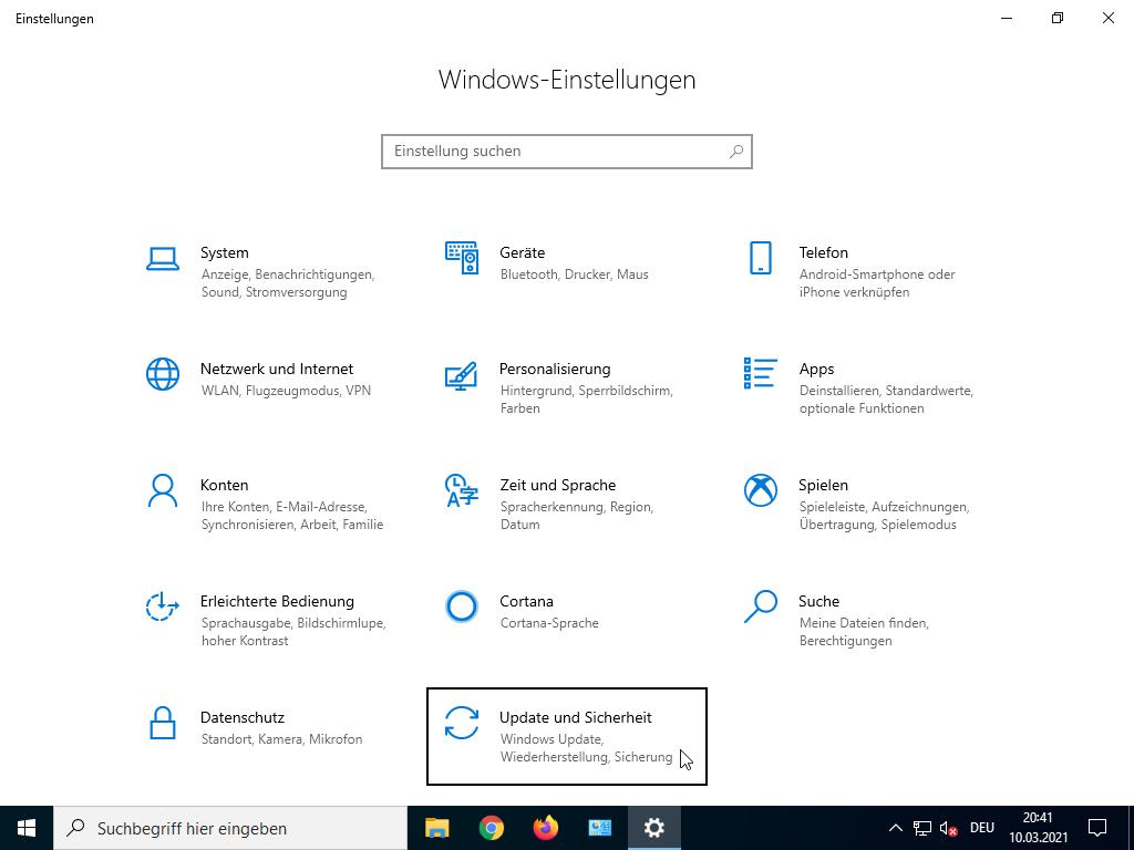 Windows 10 abgesicherter Modus starten - Windows-Einstellungen