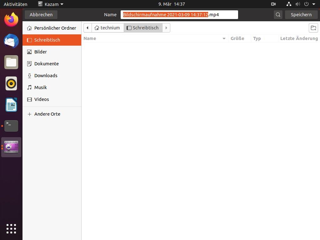 Debian Screen recording mit Kazam - kazam save