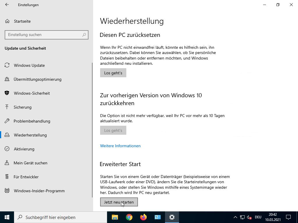 Windows 10 abgesicherter Modus starten - Wiederherstellung
