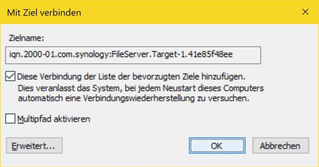 Windows 10 iSCSI Verbindung erstellen - verbinden OK
