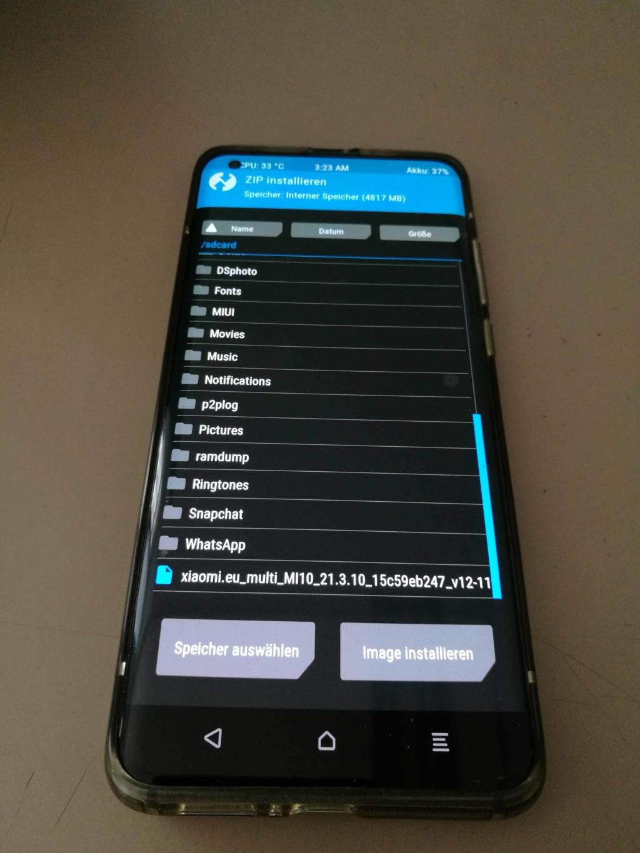 Xiaomi Mi 10 EU ROM Update - ZIP Auswählen