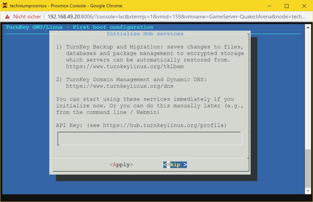 Proxmox Quake 3 Arena Server LXC Container (TurnKey) - hub services