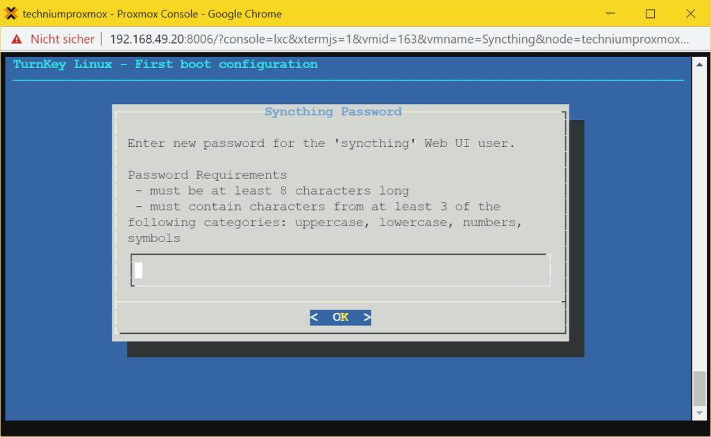 Proxmox Syncthing LXC Container - set password
