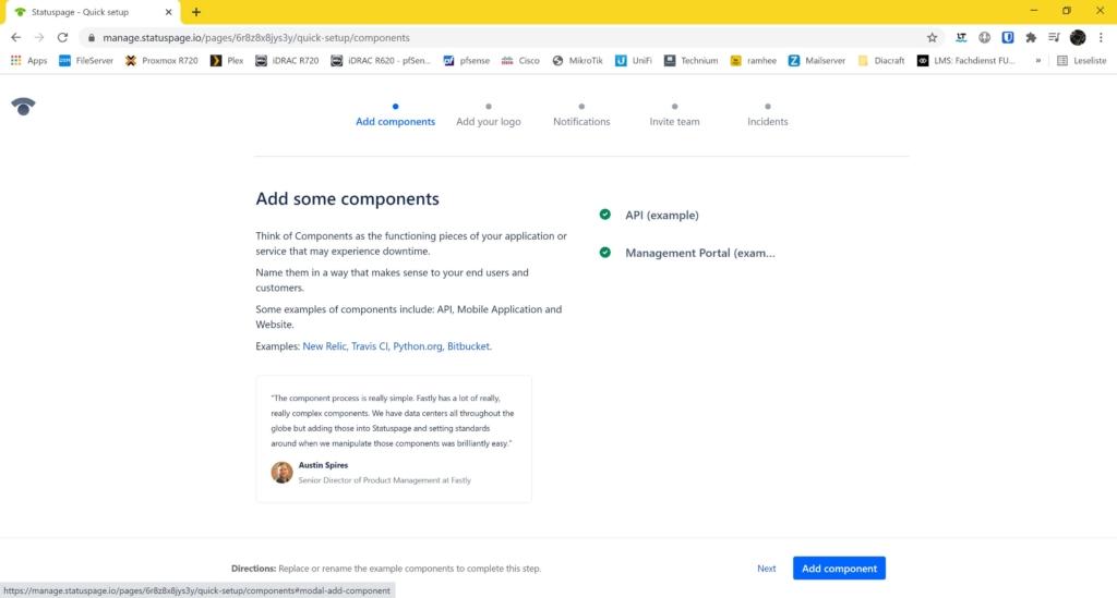 Webseite Uptime Monitoring mit statuspage.io und New Relic - add component