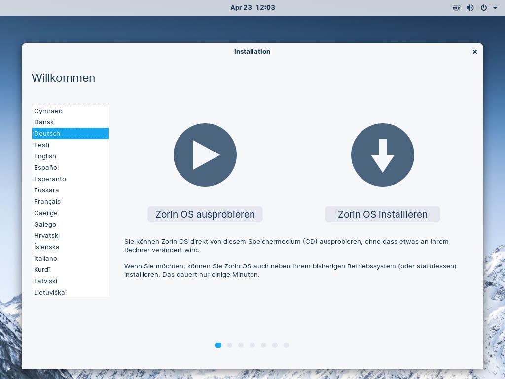 Zorin OS 16 installieren - sprache