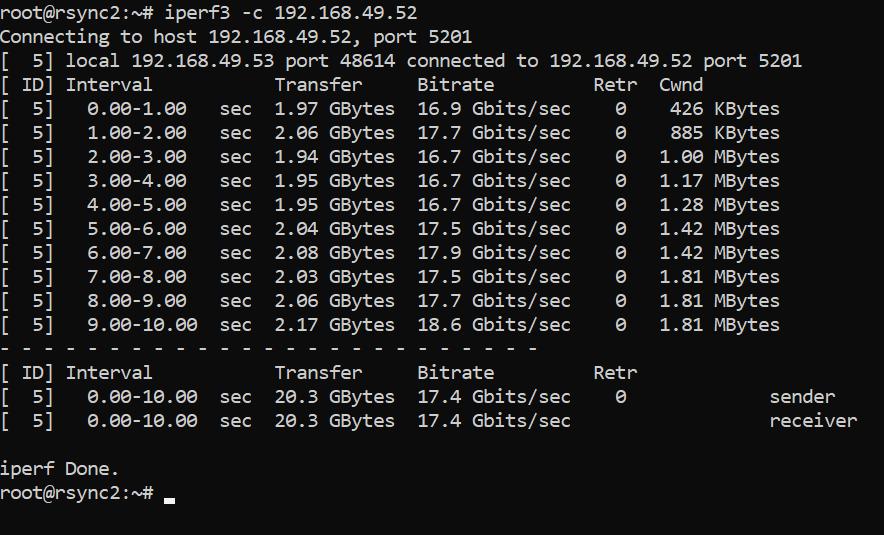 Netzwerk Speedtest mit iperf3 - client start