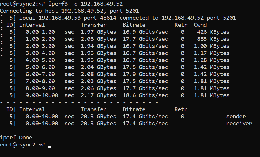 Test de vitesse du réseau avec iperf3 - le client démarre