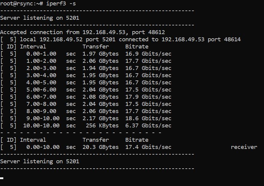 Test de vitesse du réseau avec iperf3 - sortie serveur