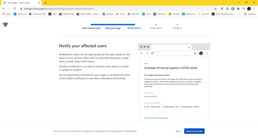 Webseite Uptime Monitoring mit statuspage.io und New Relic - send test email