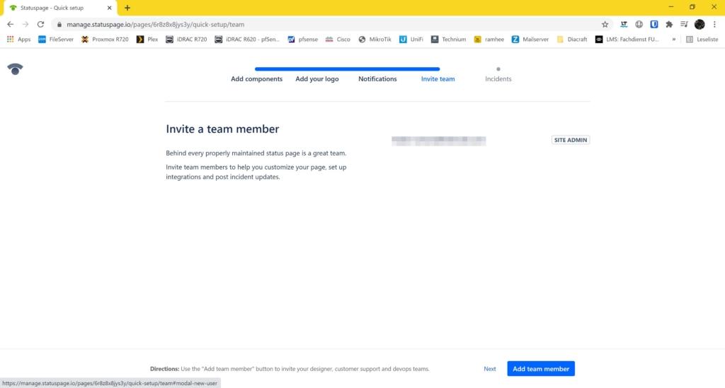 Webseite Uptime Monitoring mit statuspage.io und New Relic - invite a team member