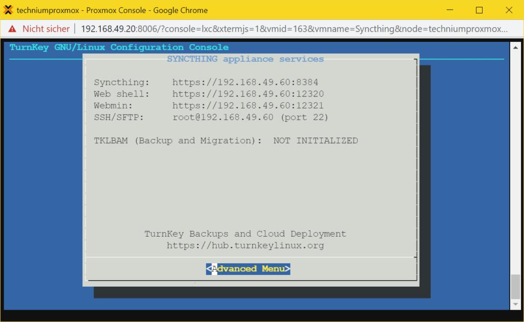 Conteneur Proxmox Syncthing LXC - Installé