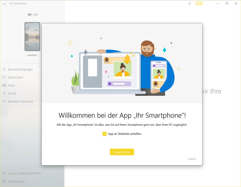 Windows 10 mit Android Smartphone verbinden - wilkommen