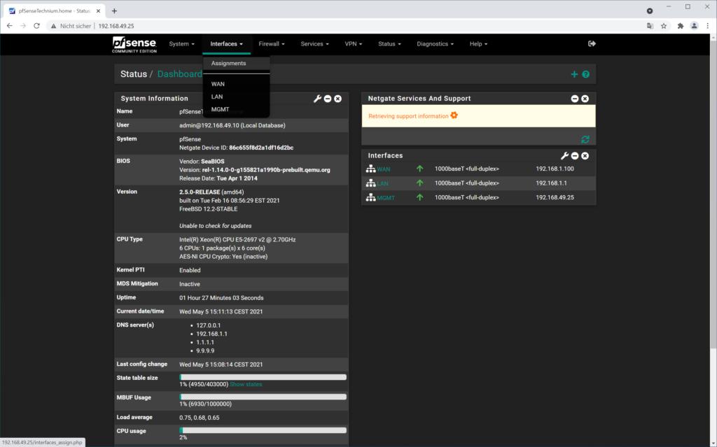 Créer des commandes pfSense LACP