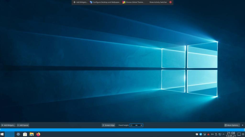 Kubuntu Windows 10 Theme installieren - add widget