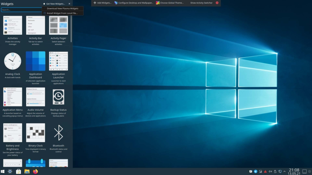 Kubuntu Windows 10 Theme installieren - download ned plasma widgets