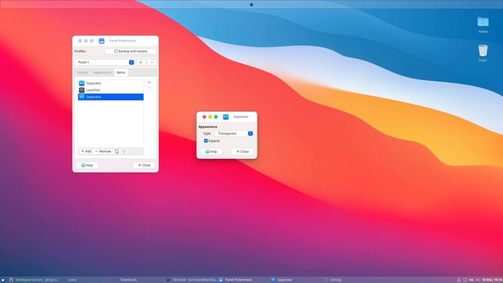 Xubuntu macOS Theme installieren - panel