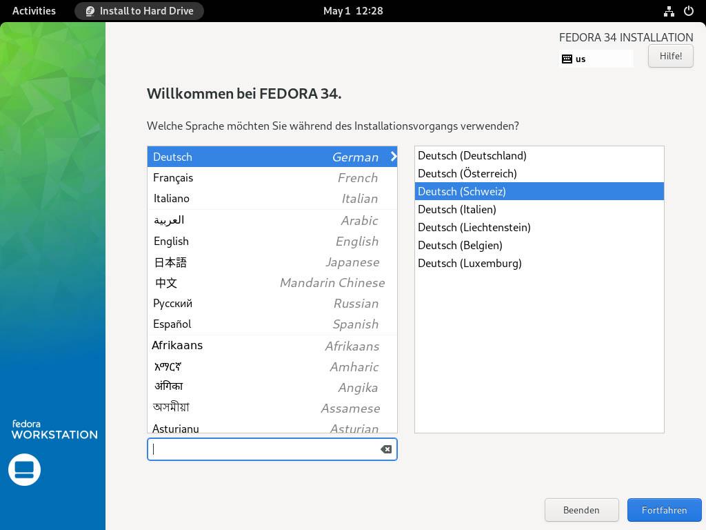 Fedora 34 installieren - sprache