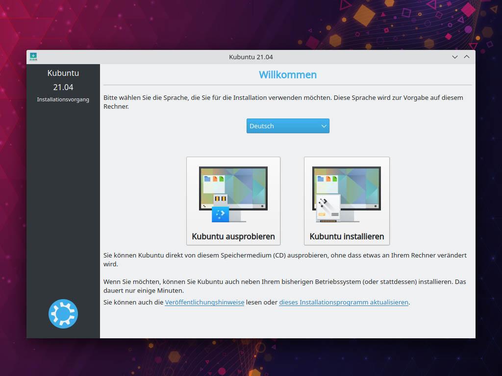Kubuntu 21.04 installieren - Willkommen