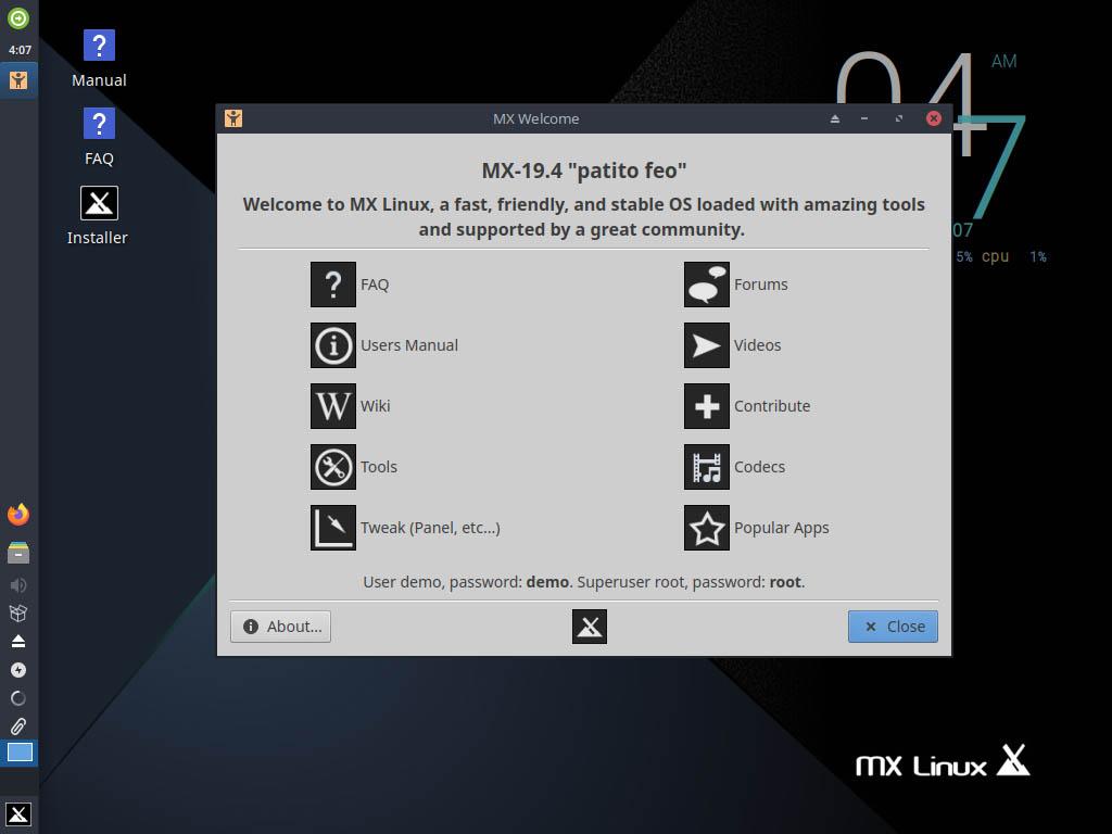 MX Linux 19.4 installieren - start installer
