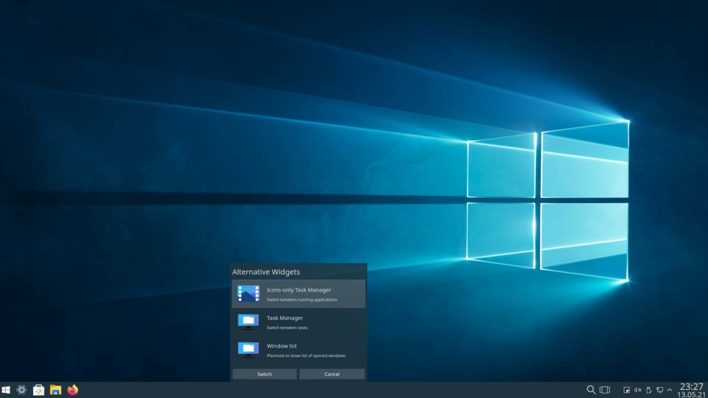 Kubuntu Windows 10 Theme installieren - Icons-only Task Manager