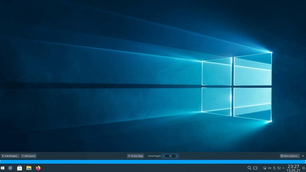 Kubuntu Windows 10 Theme installieren - panel height 50