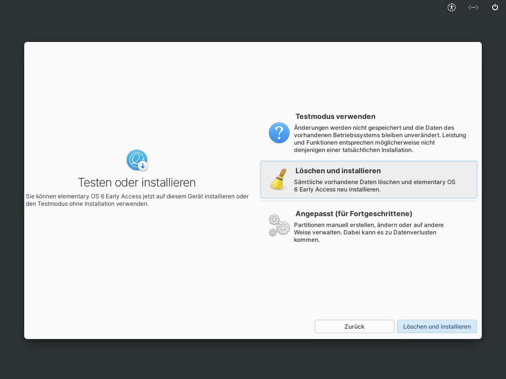Elementary OS 6 installieren - löschen und installieren