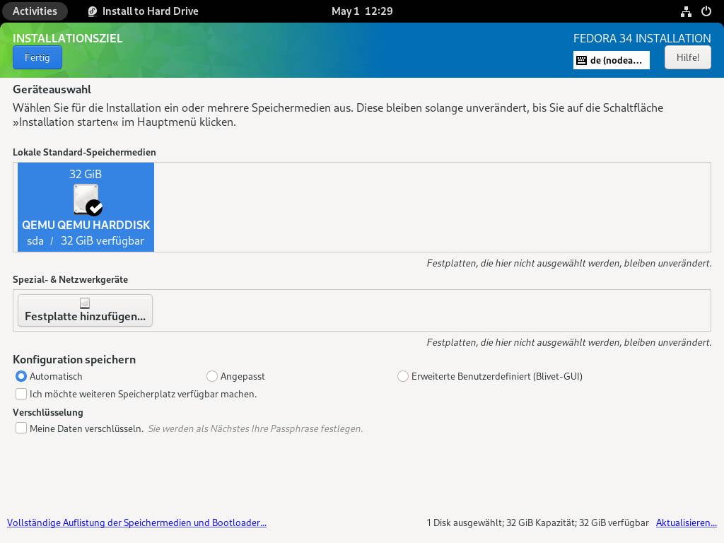 Fedora 34 installieren - Installationsziel