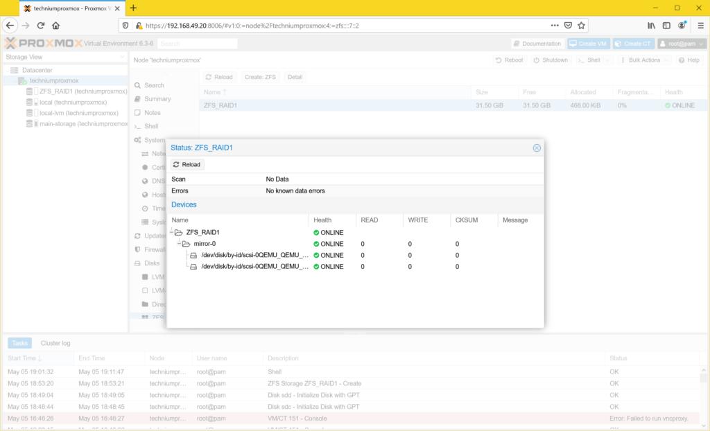Proxmox ZFS Mirror ZFS Raid 1 erstellen - zfs status