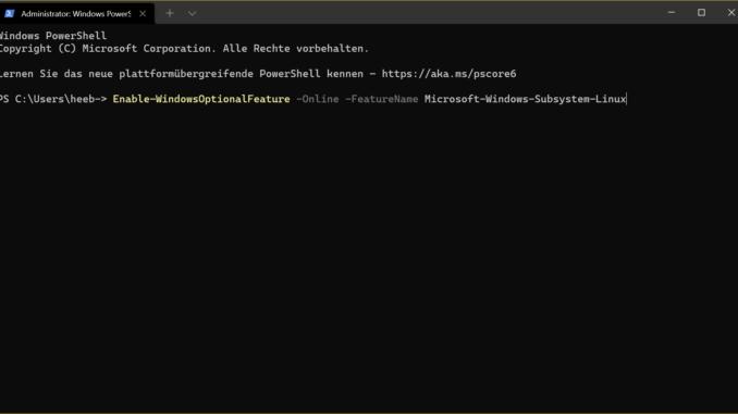 WSL2 installieren - Enable WSL