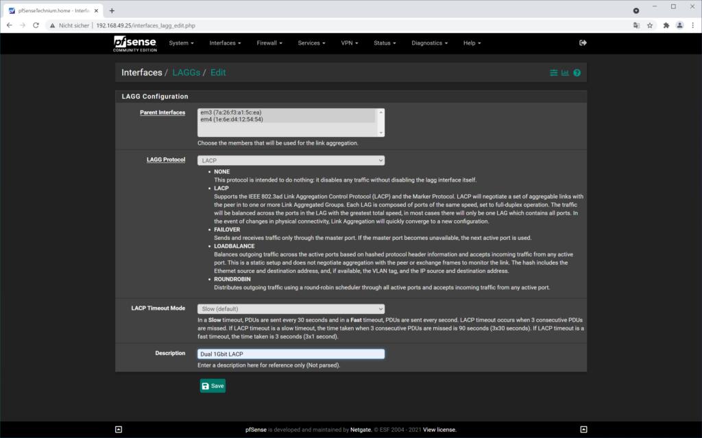 pfSense LACP erstellen - Interfaces LAGGs Edit