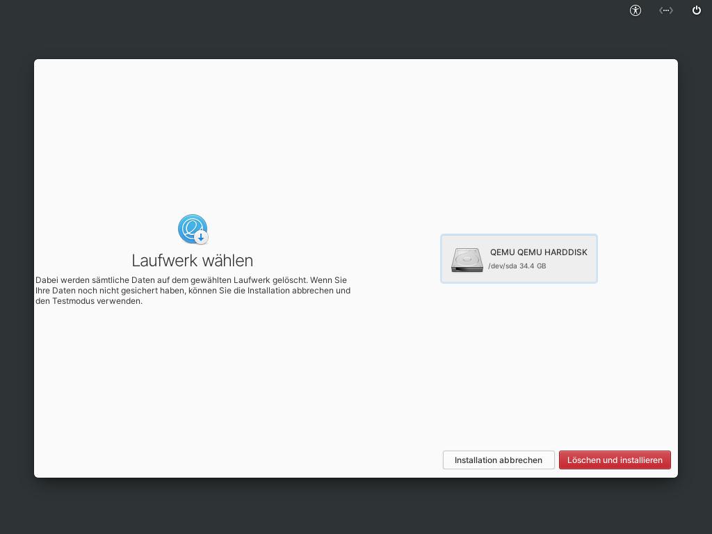 Elementary OS 6 installieren - laufwerk auswählen