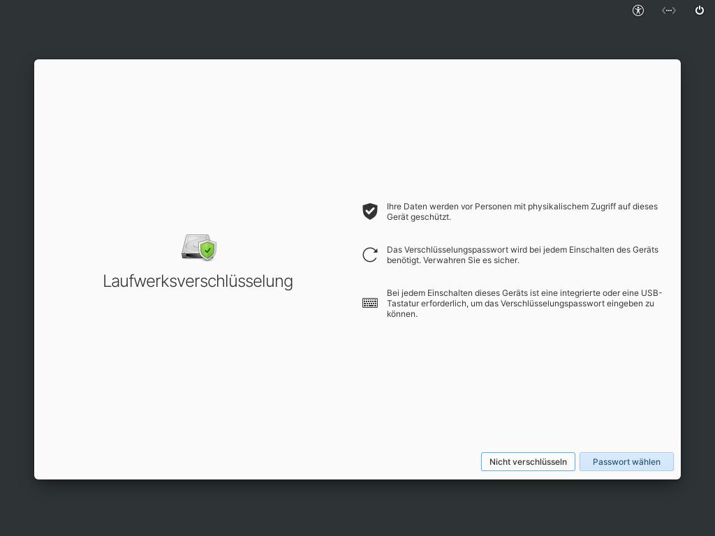 Elementary OS 6 installieren - laufwerksverschlüsselung