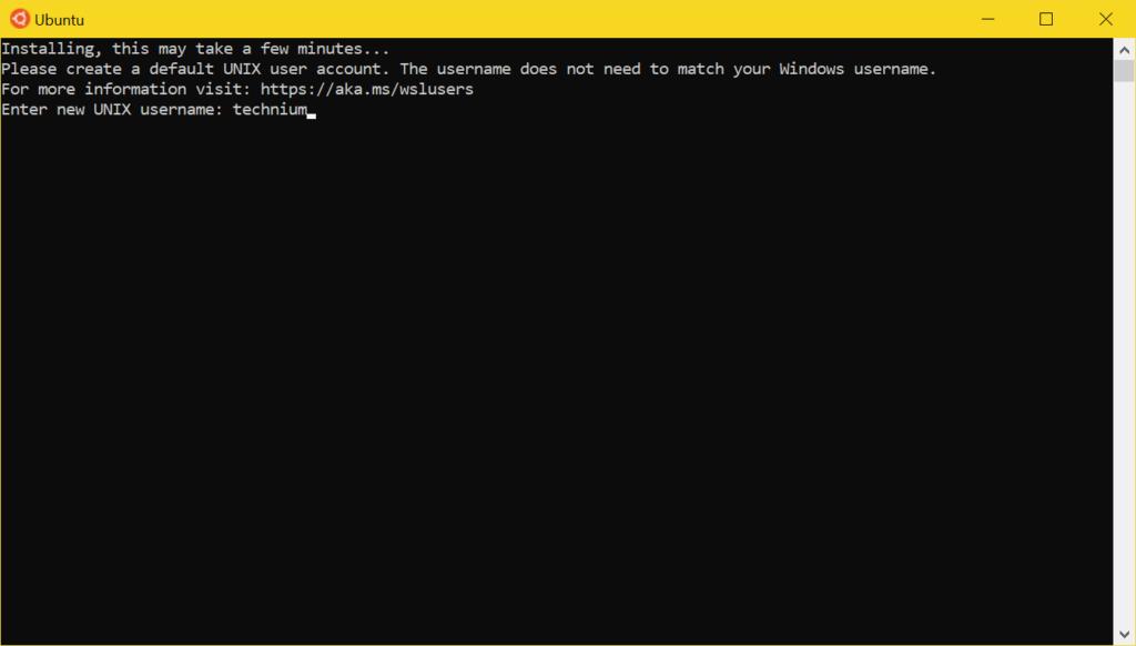 WSL2 Ubuntu installieren - set username